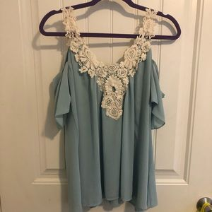 Tops - Off the shoulder blue top